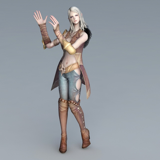 High Elf Female Rig & Animated 3d model 3ds Max files free download