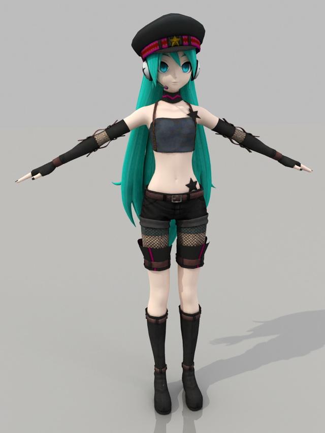 Vocaloid Hatsune Miku 3d Model 3ds Max Files Free Download Modeling 40570 On Cadnav