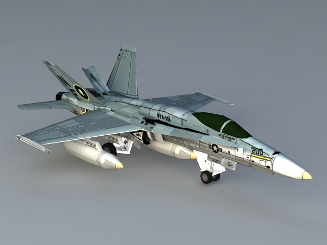 F 18 Hornet Aircraft 3d model 3ds Max files free download - modeling