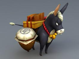 Donkey Carrying Cargo 3d model