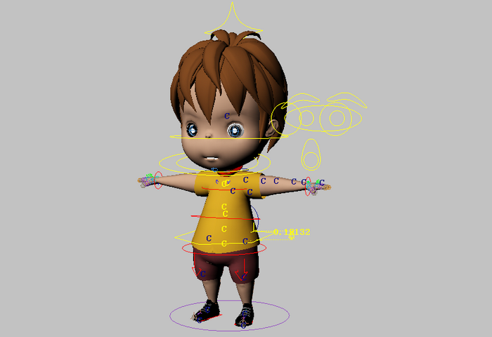 Toddler Boy Rig 3d model