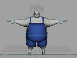 Fat Cartoon Character Rig 3d model