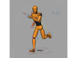 Animated Orange People 3d model