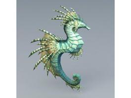 Green Seahorse 3d model