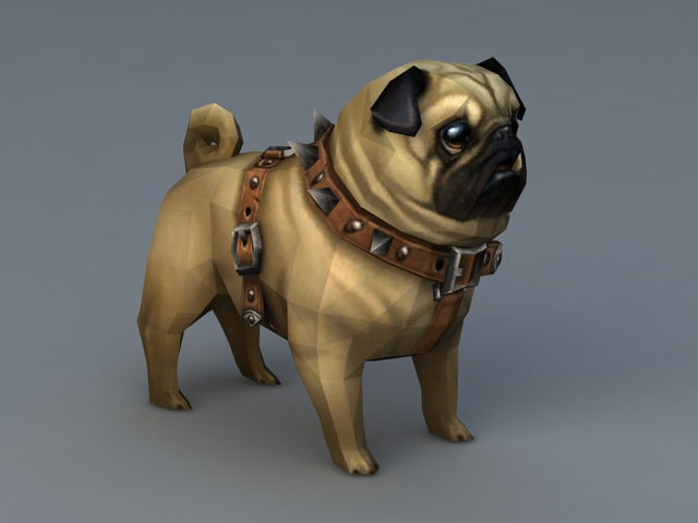 Pug Puppy 3d Model 3d Studio3ds Max Files Free Download Modeling