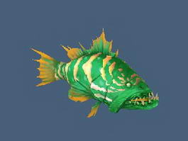 Green Grouper Fish 3d model
