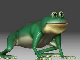 Green Frog Cartoon 3d model