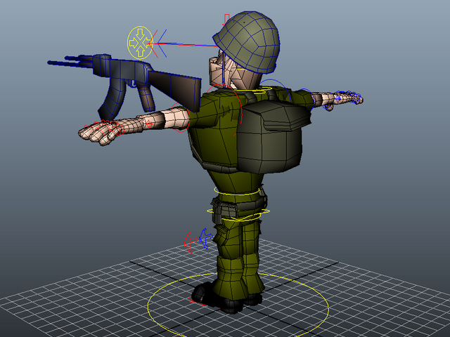 Cartoon Soldier Rig 3d Model Maya Files Free Download