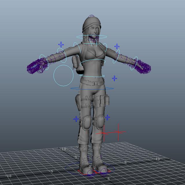 Adventurer Girl Rig 3d model Maya files free download - modeling