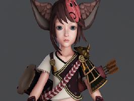 Anime Fox Girl Warrior 3d model