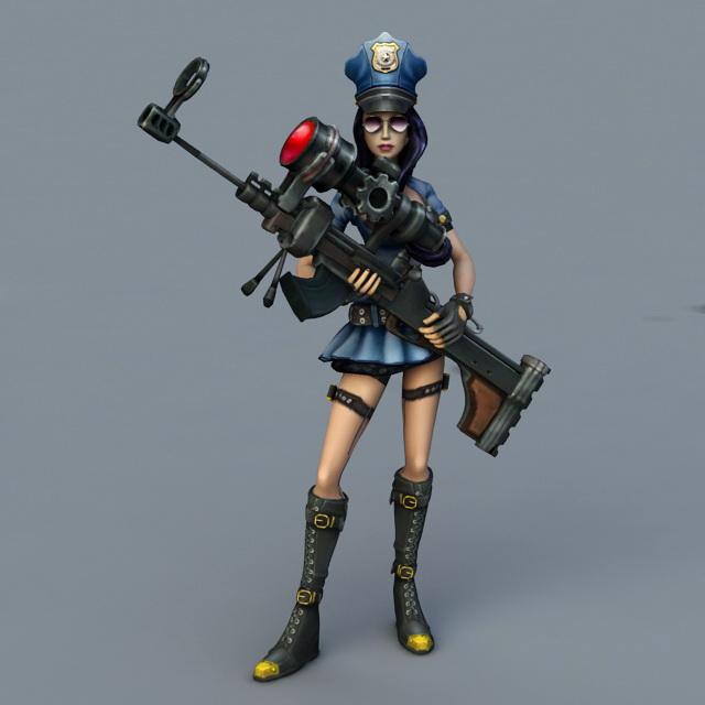 Caitlyn LOL Cop 3d model