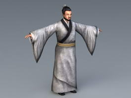 Old Chinese Scholar Rig 3d model