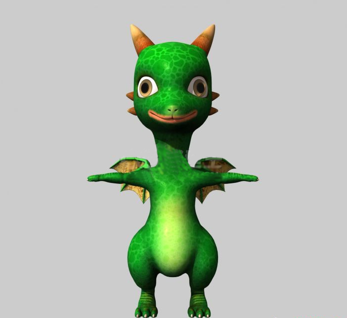 Cute Green Dragon Cartoon 3d model