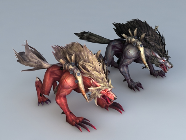 Red and Black Wolf 3d model