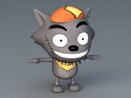 Wolf Cartoon Character 3d model