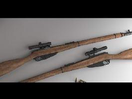 Vintage Sniper Rifle 3d model