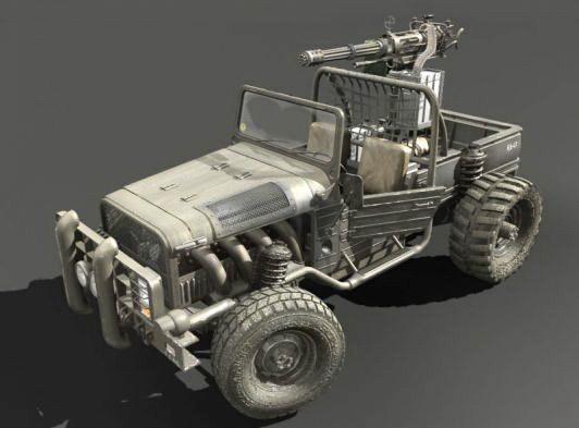 Pickup Truck with Gun 3d model