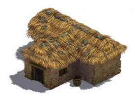 Old Thatched Roof Cottage 3d model