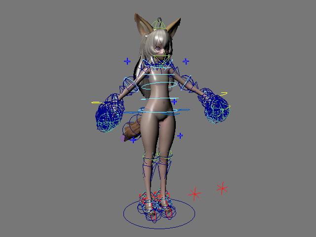 Anime Fox Girl Rig 3d model Maya files free download - modeling