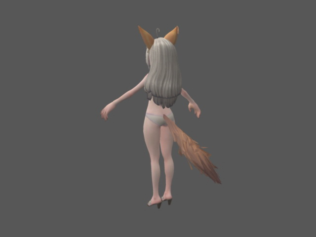Anime Fox Girl Rig 3d model Maya files free download - modeling
