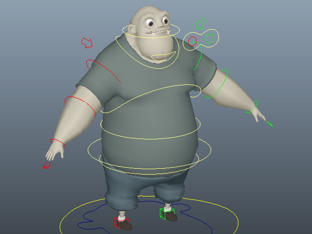 Fat Man Cartoon Rig 3d model Maya files free download - modeling