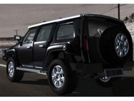 Hummer H3 Black 3d model