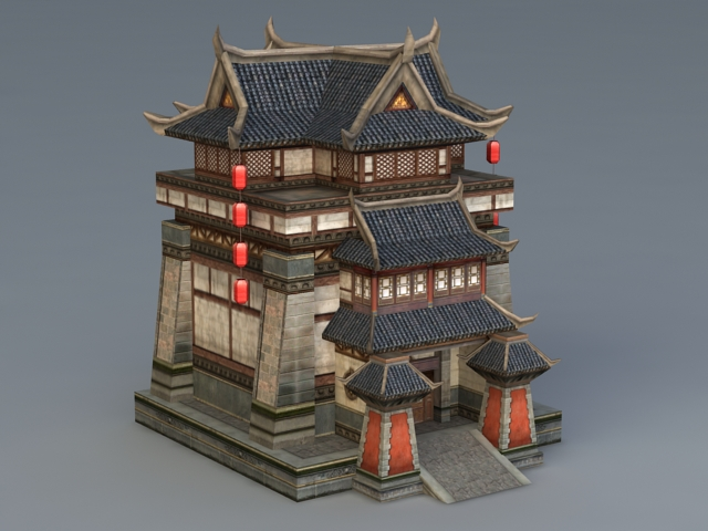 Chinese Building 3d Model 3ds Max Files Free Download