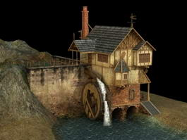 Water Wheel House 3d model