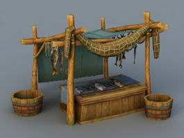 Medieval Market Fish Stall 3d model