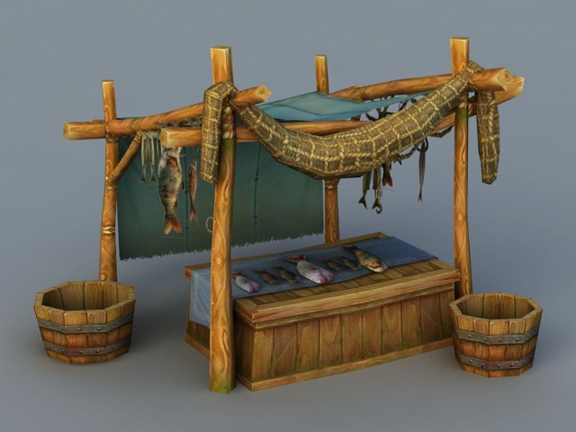 Medieval Market Fish Stall 3d Model 3ds Max Files Free
