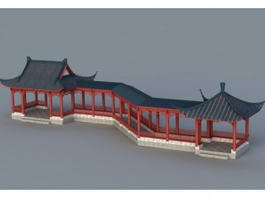 Chinese Garden Corridor 3d model