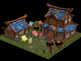 Cartoon Chinese House 3d model