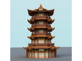 Yellow Crane Tower 3d model