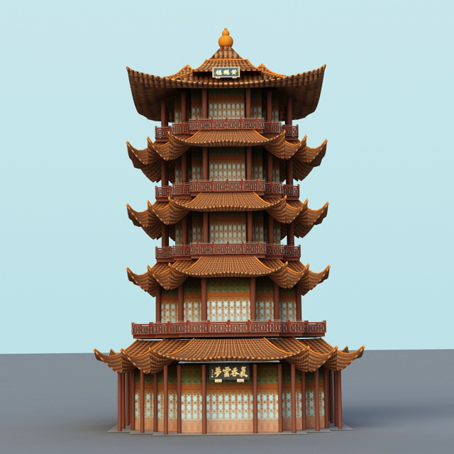 Yellow Crane Tower 3d Model 3ds Max Files Free Download