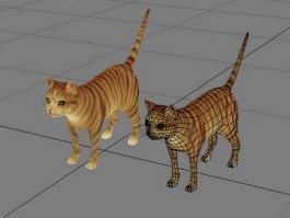 Orange Striped Tabby Cat 3d model