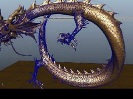 Animated Gold Dragon 3d model