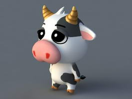 Cartoon Cow Rig 3d model