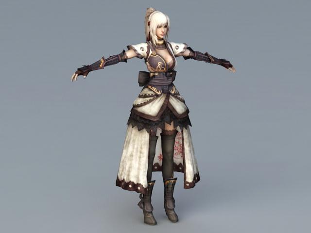 Female Samurai Art 3d model