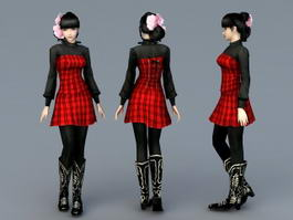 Preppy Girl 3d model