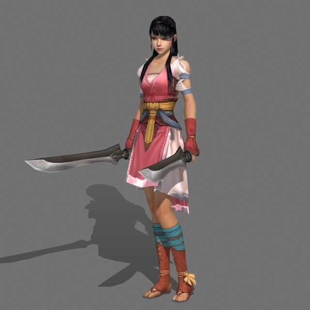 Cool Swordswoman 3d model
