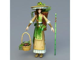 Chinese Peasant Girl 3d model