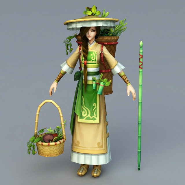 Chinese Peasant Girl 3d model