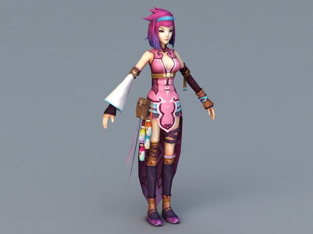 Beautiful Warrior Anime Girl 3d model