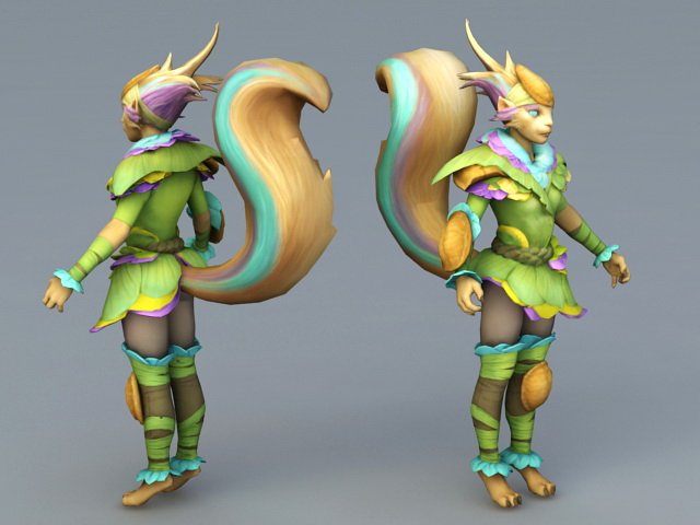 Humanoid Female Fox 3d model 3ds Max files free download ...
