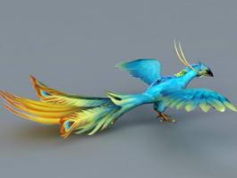 Blue Phoenix Bird 3d model