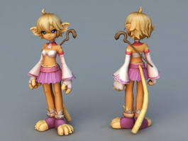 Anime Cat Girl Mage 3d model