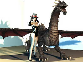 Dragon Rider Girl 3d model