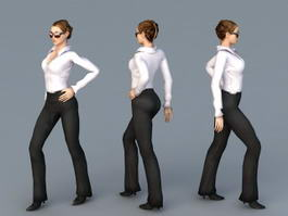 Beautiful Office Lady 3d model