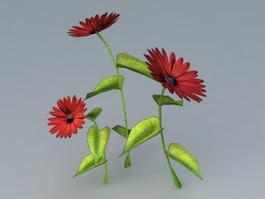 Red Flower Plant 3d model