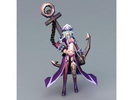 Female Pirate Captain Anime 3d model